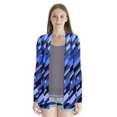 Blue Pattern Drape Collar Cardigan by Valentinaart