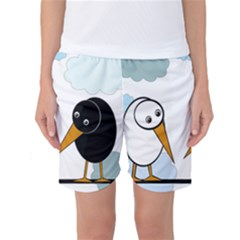 Black And White Birds Women s Basketball Shorts by Valentinaart