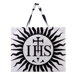 Society Of Jesus Logo (jesuits) Zipper Large Tote Bag by abbeyz71