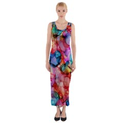 Rainbow Ocean  Fitted Maxi Dress