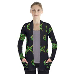 Green Fishes Pattern Women s Open Front Pockets Cardigan(p194) by Valentinaart