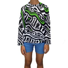 Green, Black And White Abstract Art Kid s Long Sleeve Swimwear by Valentinaart