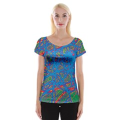 Colorful Neon Chaos Women s Cap Sleeve Top by Valentinaart