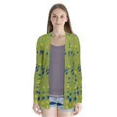 Green And Blue Drape Collar Cardigan by Valentinaart