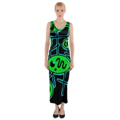 Green And Blue Abstraction Fitted Maxi Dress