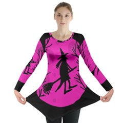 Halloween Witch   Pink Moon Long Sleeve Tunic  by Valentinaart