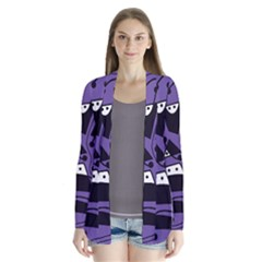 Playful Abstract Art   Purple Drape Collar Cardigan by Valentinaart