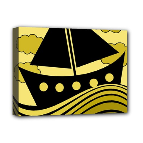 Boat   Yellow Deluxe Canvas 16  X 12   by Valentinaart