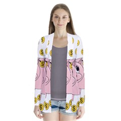 Piggy Bank  Drape Collar Cardigan by Valentinaart