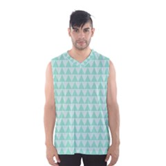 Mint Color Triangle Pattern Men s Basketball Tank Top by picsaspassion