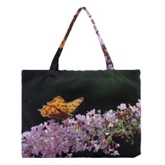 Butterfly Sitting On Flowers Medium Tote Bag by picsaspassion