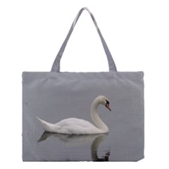 Swimming White Swan Medium Tote Bag by picsaspassion