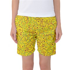 Yellow Abstract Art Women s Basketball Shorts by Valentinaart