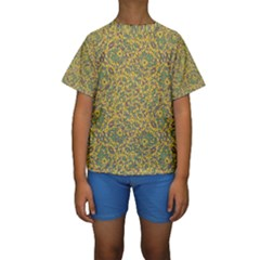 Modern Abstract Ornate Kids  Short Sleeve Swimwear by dflcprintsclothing