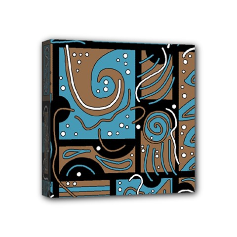 Blue and brown abstraction Mini Canvas 4  x 4  by Valentinaart