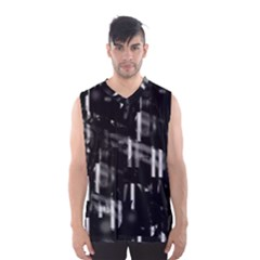 Black And White Neon City Men s Basketball Tank Top by Valentinaart