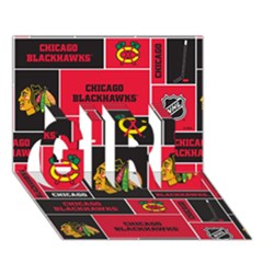Chicago Blackhawks Nhl Block Fleece Fabric Girl 3d Greeting Card (7x5) by Onesevenart
