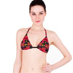 Chicago Blackhawks Nhl Block Fleece Fabric Bikini Top by Onesevenart