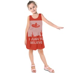 I Juan To Believe Ugly Holiday Christmas Red Background Kids  Sleeveless Dress by Onesevenart