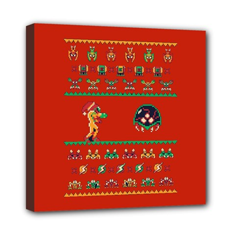 We Wish You A Metroid Christmas Ugly Holiday Christmas Red Background Mini Canvas 8  x 8  by Onesevenart