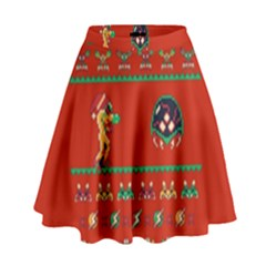 We Wish You A Metroid Christmas Ugly Holiday Christmas Red Background High Waist Skirt by Onesevenart