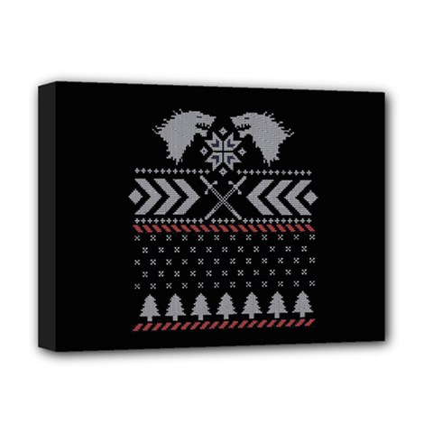 Winter Is Coming Game Of Thrones Ugly Christmas Black Background Deluxe Canvas 16  X 12   by Onesevenart