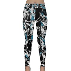 Blue Abstract Flowers Classic Yoga Leggings by Valentinaart
