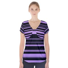 Lavender Stripes Short Sleeve Front Detail Top by KirstenStar