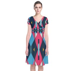 Triangles Stripes And Other Shapes                                                                        Short Sleeve Front Wrap Dress