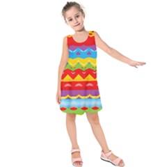 Colorful Waves              Kid s Sleeveless Dress