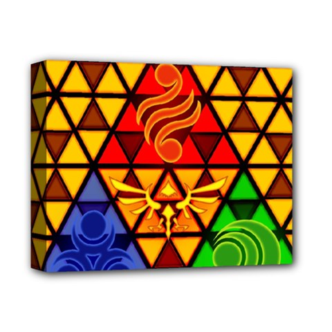 The Triforce Stained Glass Deluxe Canvas 14  x 11  by Onesevenart