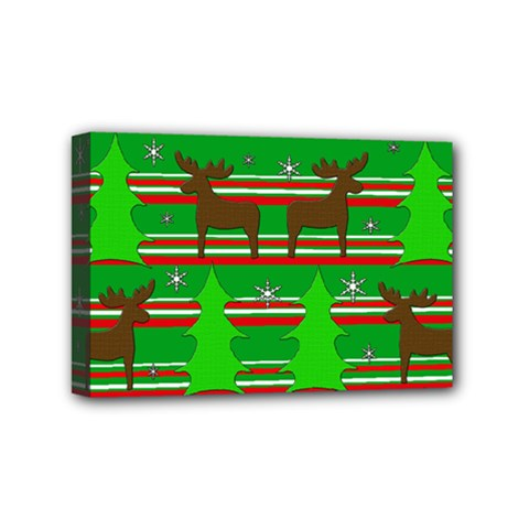 Christmas Trees And Reindeer Pattern Mini Canvas 6  X 4  by Valentinaart