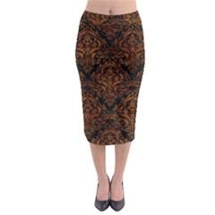 Damask1 Black Marble & Brown Marble Midi Pencil Skirt