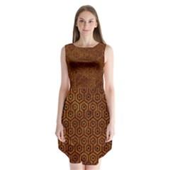 Hexagon1 Black Marble & Brown Marble (r) Sleeveless Chiffon Dress