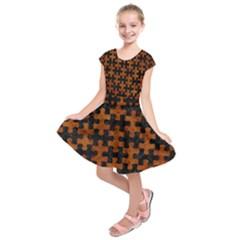 Puzzle1 Black Marble & Brown Marble Kids  Short Sleeve Dress