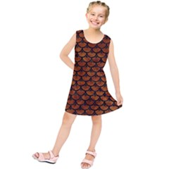 Scales3 Black Marble & Brown Marble (r) Kids  Tunic Dress