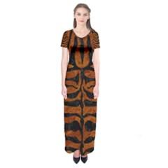 Skin2 Black Marble & Brown Marble (r) Short Sleeve Maxi Dress