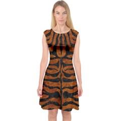 Skin2 Black Marble & Brown Marble (r) Capsleeve Midi Dress