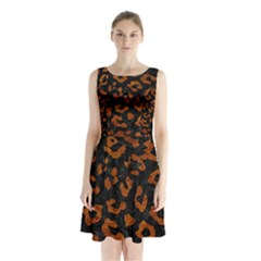 Skin5 Black Marble & Brown Marble (r) Sleeveless Waist Tie Chiffon Dress