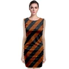 Stripes3 Black Marble & Brown Marble Classic Sleeveless Midi Dress