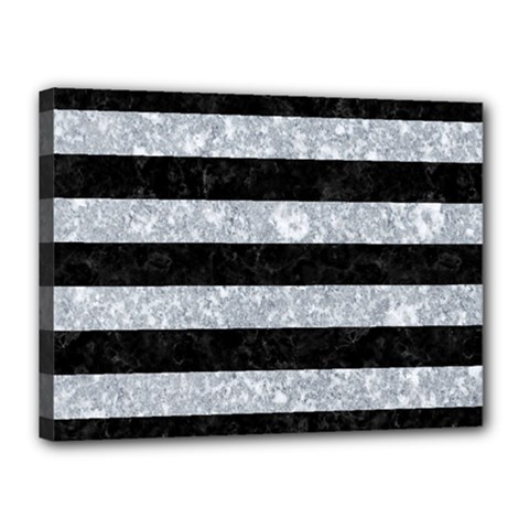 Stripes2 Black Marble & Gray Marble Canvas 16  X 12  (stretched) by trendistuff