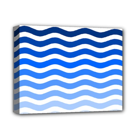 Water White Blue Line Deluxe Canvas 14  X 11  by AnjaniArt