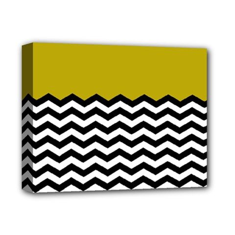Colorblock Chevron Pattern Mustard Deluxe Canvas 14  X 11  by AnjaniArt