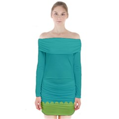 Green Blue Long Sleeve Off Shoulder Dress by AnjaniArt