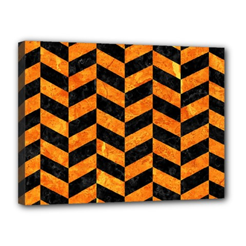 Chevron1 Black Marble & Orange Marble Canvas 16  X 12  (stretched) by trendistuff