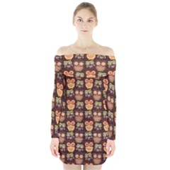 Eye Owl Line Brown Copy Long Sleeve Off Shoulder Dress by AnjaniArt