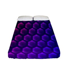 Outstanding Hexagon Blue Purple Fitted Sheet (full/ Double Size) by AnjaniArt