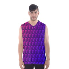 Outstanding Hexagon Blue Purple Men s Basketball Tank Top by AnjaniArt