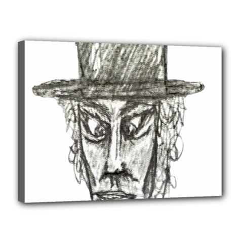 Man With Hat Head Pencil Drawing Illustration Canvas 16  X 12  by dflcprints