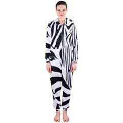Animal Cute Pattern Art Zebra Hooded Jumpsuit (ladies)